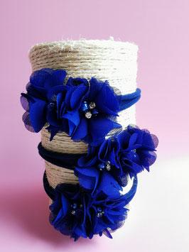 Bandeau bébé fleurs bleu et strass