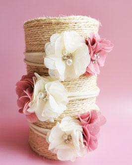Bandeau bébé fleurs rose dusty et crème
