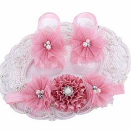 Fleurs de pieds Rose Parme + headband