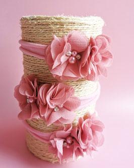 Bandeau bébé fleurs rose dusty