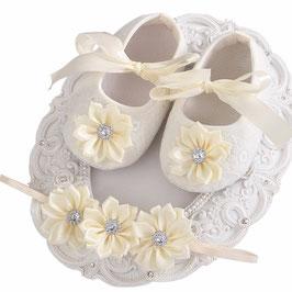 Chaussons ivoire et blanc + headband 4/6mois