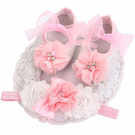 Chaussons rose et blanc 3/6 mois + headband