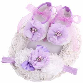 Chaussons mauve et blanc + headband 4/6mois