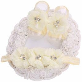 Fleurs de pieds bébé + headband