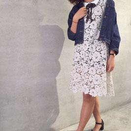 蝴蝶結蕾絲短袖洋裝