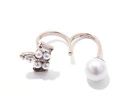 珍珠鑽雙指戒