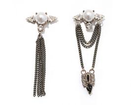 珍珠鑽垂吊不對稱耳環