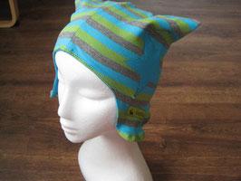 Mütze türkis-grün-grau