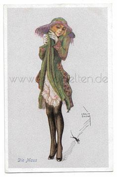 Alte Künstler Postkarte elegante Frau fürchtet sich vor kleiner Maus, signiert Ernst Busch