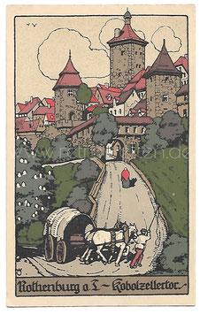 Alte Steindruck Künstler Postkarte ROTHENBURG O. T. Kobolzellertor