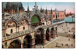 Alte Foto Postkarte VENEDIG VENEZIA Blick vom Uhrenturm auf Markuskirche und Dogenpalast