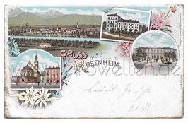 Alte Lithografie Postkarte GRUSS AUS ROSENHEIM Marienbad, Bahnhof, 1899