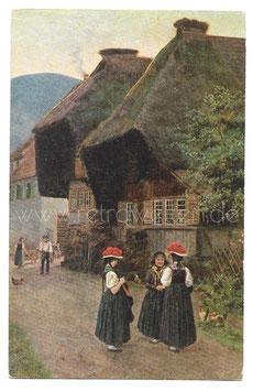 Alte Künstler Postkarte FRAUEN IN SCHWARZWÄLDER TRACHT MIT BOLLENHUT, signiert H. Hoffmann