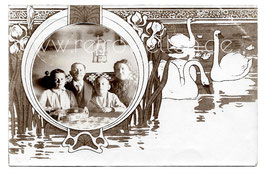 Alte Jugendstil Passepartout Postkarte PORTRÄT EINER FAMILIE AUS GRÖBA, 1913