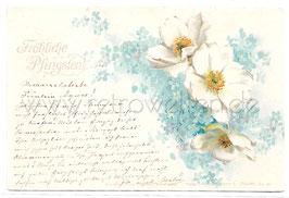 Alte Künstler Postkarte FRÖHLICHE PFINGSTEN weiße Anemonen und Vergissmeinnicht