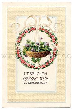 Alte Postkarte  HERZLICHEN GLÜCKWUNSCH ZUM GEBURTSTAGE !  Glücksklee und Blumengirlande