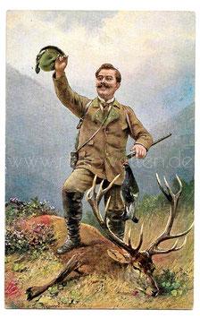 Alte Künstler Postkarte  JÄGER MIT ERLEGTEM HIRSCH UND VOGEL