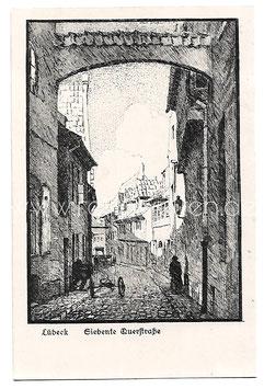 Alte Künstler Postkarte LÜBECK Siebente Querstraße, signiert Karl Bloßfeld 1921