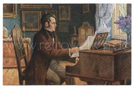Alte Künstler Postkarte DER KOMPONIST FRANZ SCHUBERT AM KLAVIER, signiert Kurt von Rozynski