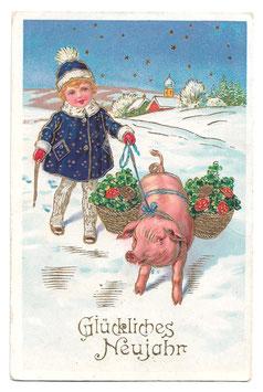 """Alte Lithografie Postkarte """"GLÜCKLICHES NEUJAHR""""  Mädchen, Schwein, Glücksklee, Fliegenpilze, 1938"""