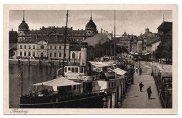 Alte Kupferdruck Postkarte KONSTANZ Hafenpartie mit Dampfer
