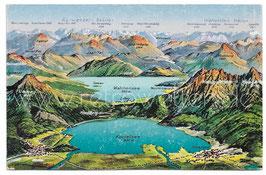 Alte Postkarte KOCHEL- UND WALCHENSEEGEBIET AUS DER VOGELSCHAU