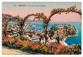 Alte Postkarte MONACO - Vue prise entre les fleurs, Frankreich 1928