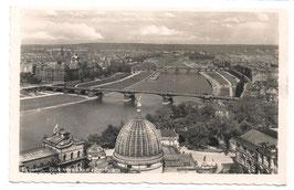 Alte Postkarte DRESDEN Blick vom Dom elbaufwärts - 1942