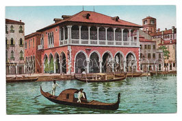 Alte Foto Postkarte VENEDIG VENEZIA Fischmarkt und Gondeln auf dem Canal Grande