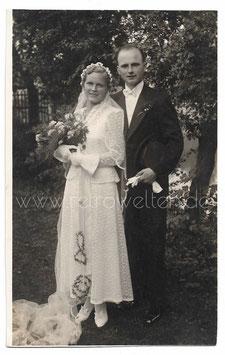 Alte Foto Postkarte HOCHZEIT  Brautpaar aus den 1930er Jahren