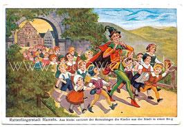Alte Künstler Postkarte RATTENFÄNGERSTADT HAMELN Aus Rache entführt der Rattenfänger die Kinder aus der Stadt in einen Berg, 1937