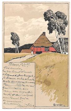 Alte Künstler Postkarte NORDDEUTSCHE LANDSCHAFT MIT BAUERNHOF UND BIRKEN, signiert H. Grande 1907