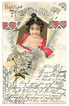 Alte Jugendstil Postkarte FRÖHLICHE PFINGSTEN Rote Herzen, Frau mit Margeriten 1909