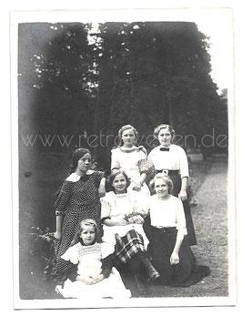 Alte Gruppenbild Fotografie 6 HÜBSCHE MÄDCHEN um 1910