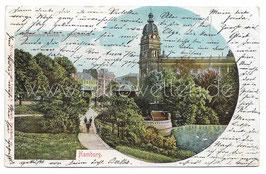 Alte Postkarte HAMBURG Botanischer Garten und Postgebäude