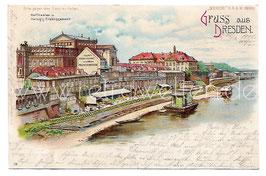 """Alte Lithografie """"Meteor"""" Postkarte GRUSS AUS DRESDEN Hoftheater und Helbigs Etablissement, 1900"""