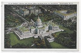 Alte Postkarte WASHINGTON D. C. - Blick auf Kapitol vom Flugzeug aus