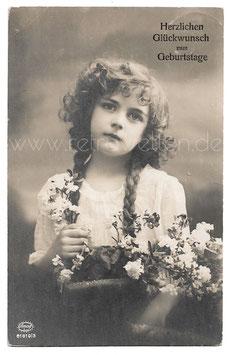 Alte Fotografie Postkarte HERZLICHEN GLÜCKWUNSCH ZUM GEBURTSTAGE  schönes Mädchen mit Blumen