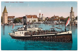 Alte Postkarte DAMPFER KÖNIGIN CHARLOTTE IN LINDAU AM BODENSEE