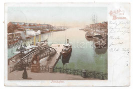 Alte Postkarte GRUSS AUS BREMEN Freihafen, 1899