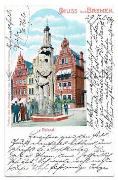 Alte Postkarte GRUSS AUS BREMEN Roland, 1902
