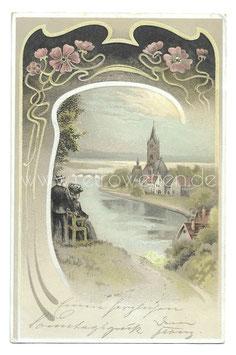 Alte Jugendstil Postkarte FLUSSLANDSCHAFT MIT HÄUSERN UND KIRCHE, 1904