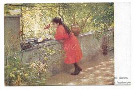 Alte Künstler Postkarte MÄDCHEN UND WEISSE TAUBEN IM GARTEN signiert J. Engelhart