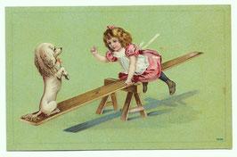 Alte Künstler Postkarte kleines Mädchen und weißer Pudel auf einer Wippe
