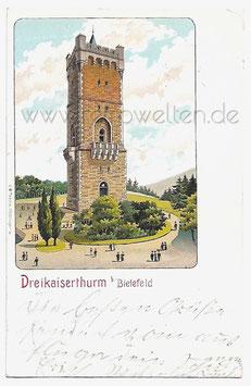Alte Lithographie Postkarte BIELEFELD Dreikaiserturm 1905