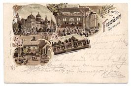 Alte Lithografie Postkarte DORTMUND - GRUSS VOM FREDENBAUM Hauptgebäude, Wintergarten, Neue Halle, Grosser Saal 1897