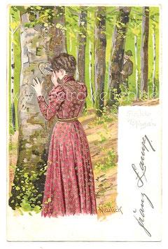 """Alte Künstler Postkarte FRÖHLICHE PFINGSTEN, 1903 - Nr 1064 """"Erika"""" - signiert Mailick"""