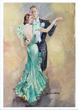 Alte Künstler Postkarte ELEGANTES PAAR TANZT