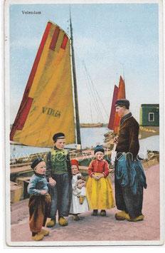 Alte Fotografie Postkarte VOLENDAM Fischer und Kinder in niederländischer Tracht