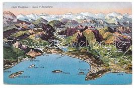 Alte Landkarten Postkarte LAGO MAGGIORE - Verso il Sempione